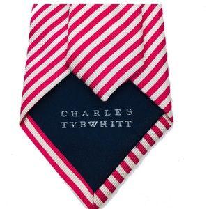 CHARLES TYRWHITT Necktie  Red & White Stripe Silk
